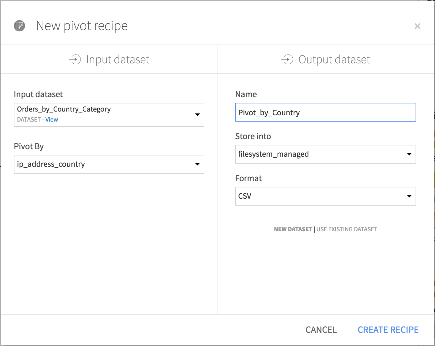 The create Pivot recipe screen, with the settings described in the text.